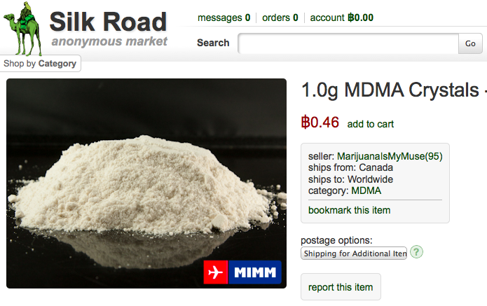 "Silk Road page selling MDMA (street name ""molly""), with Bitcoin price"